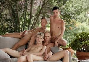 video Bareback twink orgy with masses of cum ,Part 1
