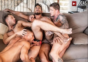 video Diego Lauzen, Geordie Jackson, Klim Gromov, Yuri Orlov – Diego And Geordie's Fuck-Machine Foursome (Bareback)