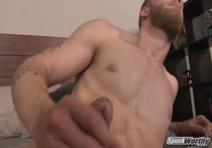 SpunkWorthy – Ripped, bearded str8 jock Tosh strokes out his first load on camera