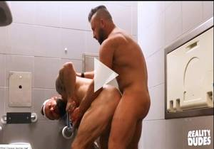 PUP & TANK HAVE MESSY BAREBACK SEX IN AIRPORT TOILET