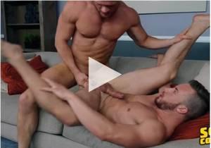 Cam rides Sean's huge cock bareback